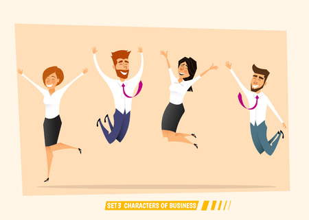 Business people jumping and celebrating victory. Cartoon vector illustration.Flat design