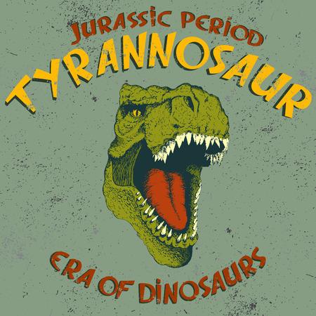 tyrannosaur: Aggressive tyrannosaurus head.Vintage label with dinosaur tyrannosaur on grunge old background.Typography design for t-shirts.Jurassic period.Vector illustration