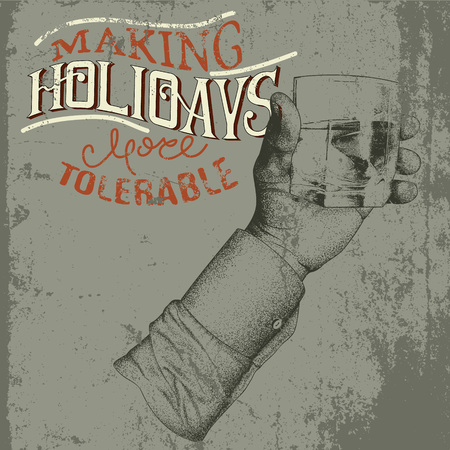 tipple: Male hand holding a glass of alcoholic drink.Grunge background.Vintage vector illustration