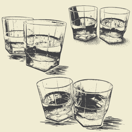 Collection of monochrome stemware .Engraving style.Vector illustration