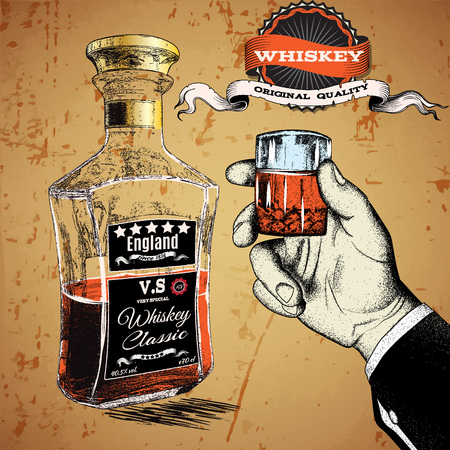 bourbon whisky: Hand holding a glass of tipple.Bootle stand near the hand.Vector illustration