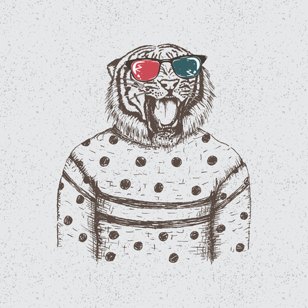 dressed: tiger dressed in the blouse.Hand drawn vector illustration