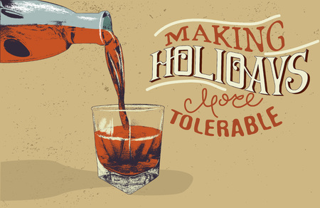 alcoholic drink: alcoholic drink is poured from bottle in glass.Vintage style.Vector illustration