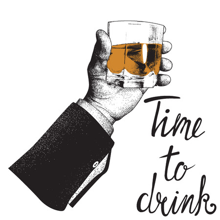 Male hand holding a glass of whiskey. Design for alcoholic drinks products. Vector illustration Çizim