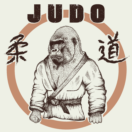 grappling: Judoka gorilla dressed in kimono. Hand drawn style.Label for judo.Japanese writing
