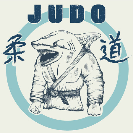 grappling: Shark practicing judo. Hand drawn style.Vector label for judo design