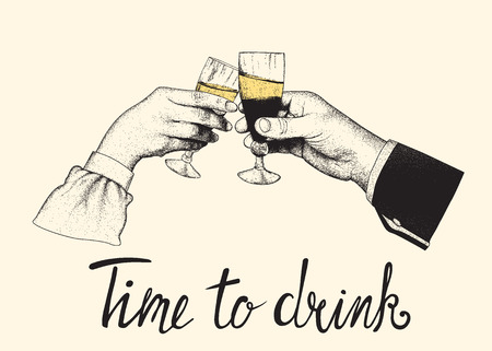 male and woman hand clinking glasses between themselves.Time to drink.Engraved vintage style.Vector illustration Illustration