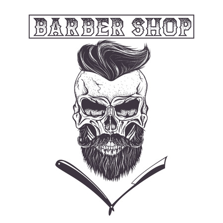 Skull of human with hairstyle.Fashion style.Hipster with beard isolated on white background.Vector illustration Illustration