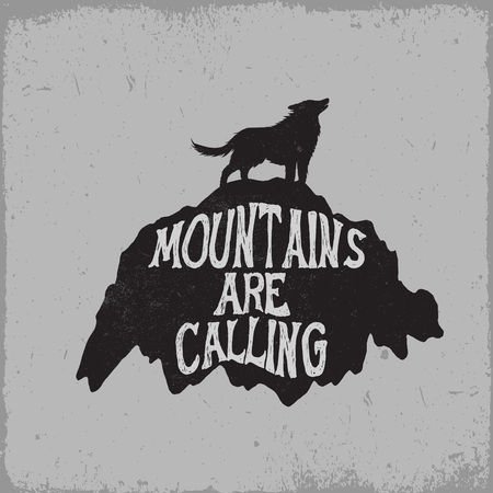 howl: old label.Wolf howling on mountain.Typography vector design