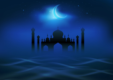 bleak: Fog and clouds around islamic mosque. Crescent moon shines in the night sky. Religion theme