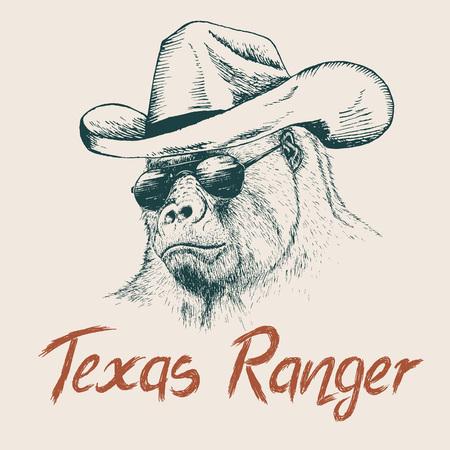 ranger: Gorilla like a texas ranger dressed in sheriff hat.Prints design for t-shirts Illustration