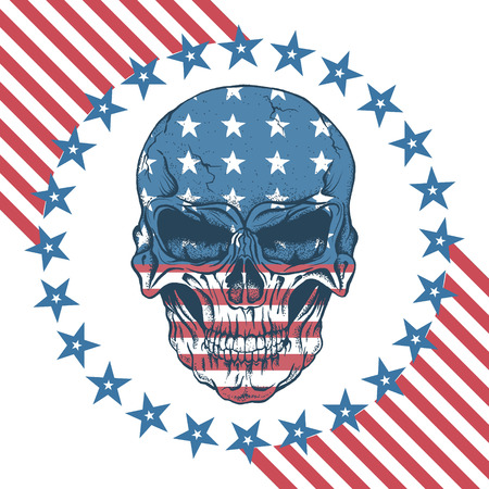Urban label with skull.USA flag on it. Prints design for t-shirts