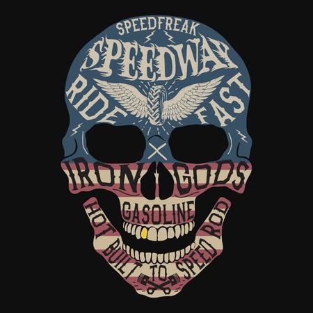 Vintage label with skull .Grunge effect.USA flag on it.Prints design for t-shirts Ilustração