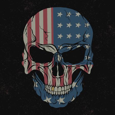 Cráneo aislado en bandera background.USA negro en él. diseño de impresiones para las camisetas