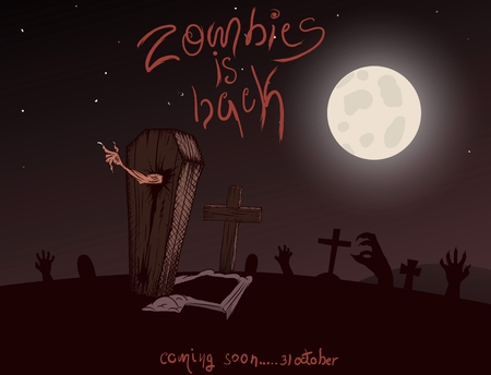sepulcher: Vintage poster for zombie party. Halloween design