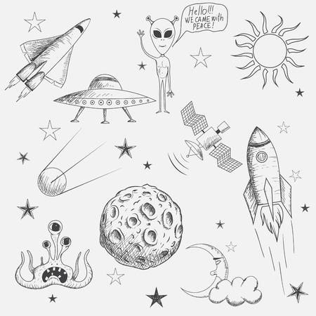 Colección de espacio de objetos aislados sobre fondo blanco. dibujado a mano ilustración style.Vector Ilustración de vector
