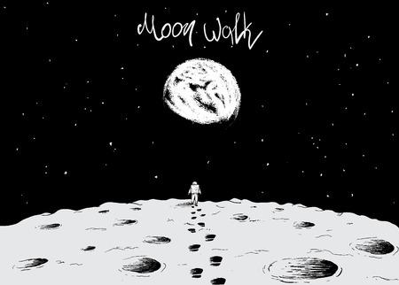 El astronauta caminando sobre la superficie de moon.Earth es visible lejos