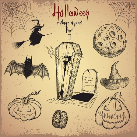 witchery: Vintage clip art. Collection of scary objects for Halloween design.Hand drawn style.Vector illustration