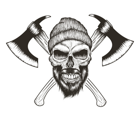 Skull-lumberjack with beard,hat and two axes.Prints design for t-shirts.Hand drawn illustration