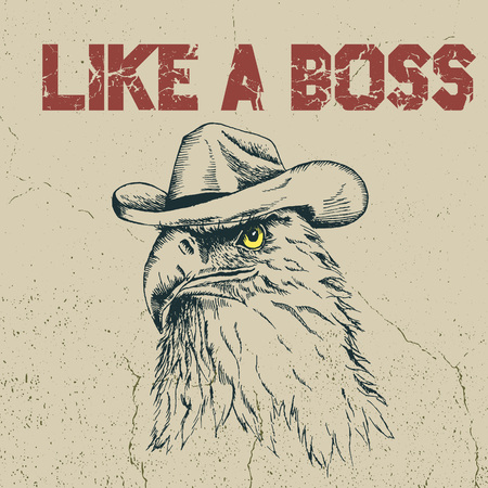 Eagle cowboy is like a boss.Hand drawn style. Prints design for t-shirts Illustration