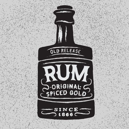 alcoholic drinks: Vintage bottle of rum.Vector typography design of alcoholic drinks