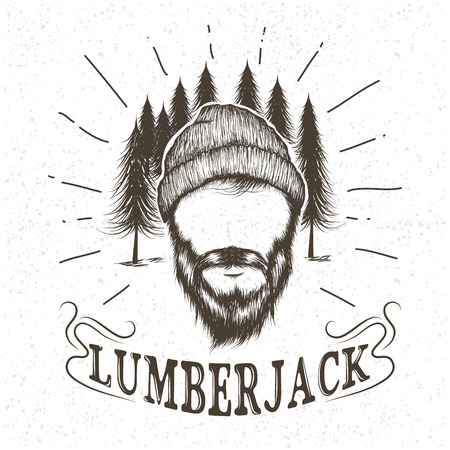 Face of lumberjack with beard and hat.Vector hand drawn illustration