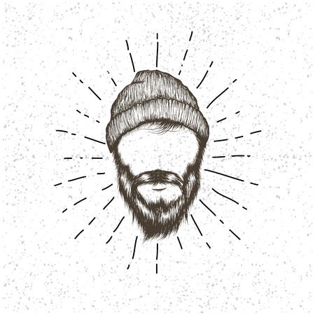 Cara de leñador .Prints diseño para dibujada t-shirts.Hand ilustración vectorial Ilustración de vector