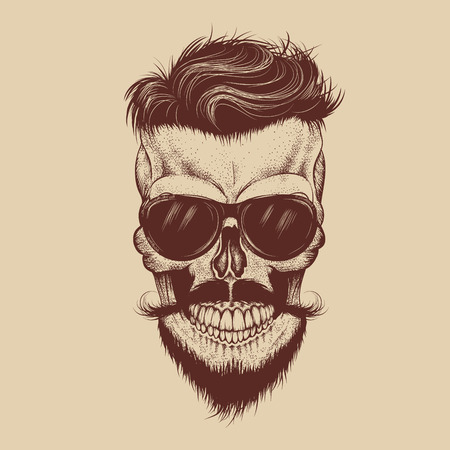 Hipster skull with sunglasses, mustache and beard.Fashion style.Hand drawn work.Vector illustration Illustration