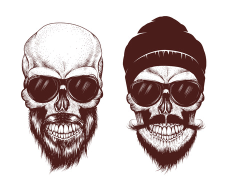 Two modern skull with sunglasses. Hand drawn vector illustration Illustration