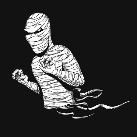 awful: Awful mummy like a ghost.Hand drawn vector illustration