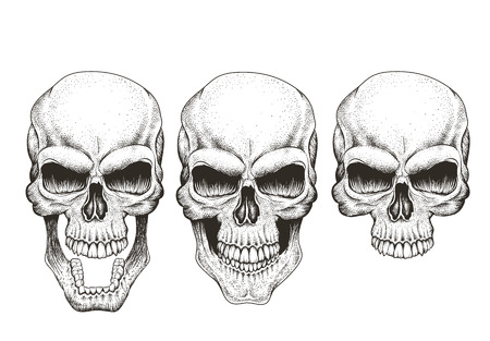 One skull in different guises.Hand drawn vector illustration for prints design