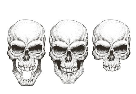 Un cráneo en diferentes ilustración vectorial para el diseño dibujado guises.Hand impresiones Foto de archivo - 65648058