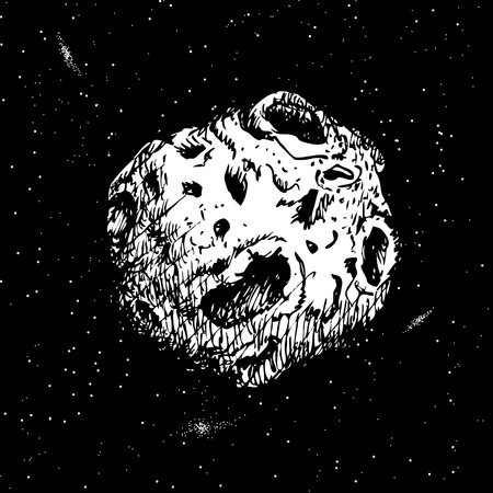 asteroid: Asteroid flying in cosmos.Hand drawn style.Vector illustration Illustration