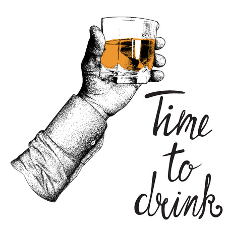 tipple: mans hand in shirt raises glass.Engraving style. Vector illustration made by dots in engraving style