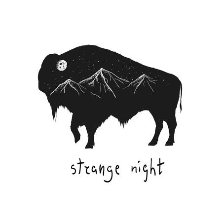 Siluetta astratta del bisonte con le montagne e la luna in lui notte. Distintivo di vettore