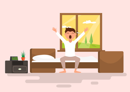 Man wakes up early in the morning. Flat vector illustration Иллюстрация