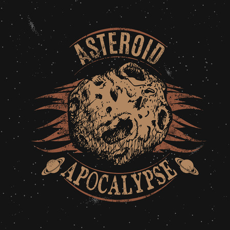 astronomic: Vintage label with asteroid.Vector illustration.Prints design for t-shirts