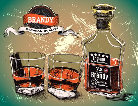 bourbon: two glasses with bottle of alcohol drink.Vintage poster.Vector illustration