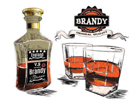 rum: Brandy in two glasses and bottle.Vector illustration