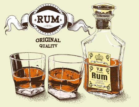 tipple: Two stemware of rum with bootle .Vector illustration Illustration
