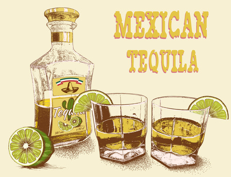 tipple: Two stemware of tequila with bottle and lime. Vintage poster.Vector illustration