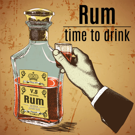 outdated: Hand holding a glass of alcoholic drink.Bootle with rum stand.Vector illustration