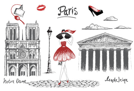 dame: Young fashion girl walking in the Paris.Pencil drawing.Fashion style.Vector hand drawn illustration