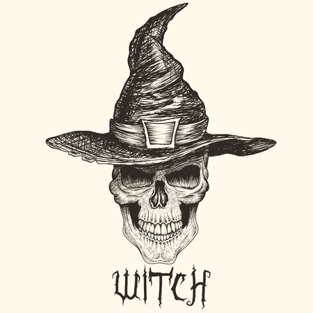 Head of witch with hat.Skull face.Engraving style. Vector hand drawn illustration