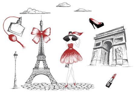 Fashion girl walking in the Paris.Vector hand drawn illustration