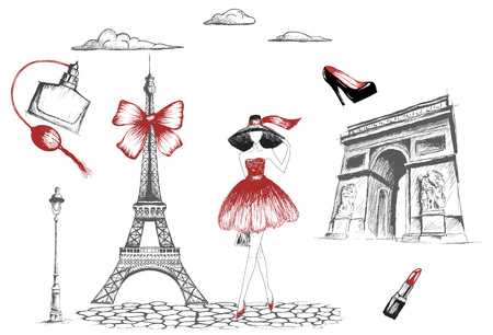 Fashion girl walking in the Paris.Vector hand drawn illustration