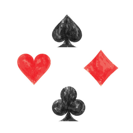 playing card symbols: Collection of playing card symbols on white background.Vector watercolor illustration