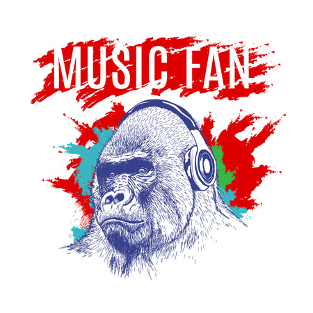 Gorilla listening to music on headphones.DJ at the disco.Vector label