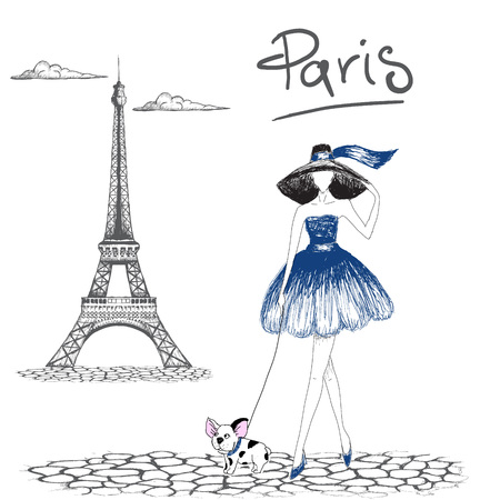 Girl walking with french bulldog in the Paris.Fashion style