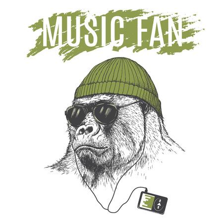Monkey listening to music in headphones .Dressed in hat.Vector illustration Illustration